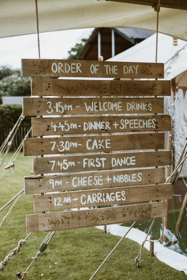 Wooden Order of the Day Sign