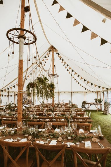 Natural Tipi Décor with Pot Plants and Foliage Table Runners