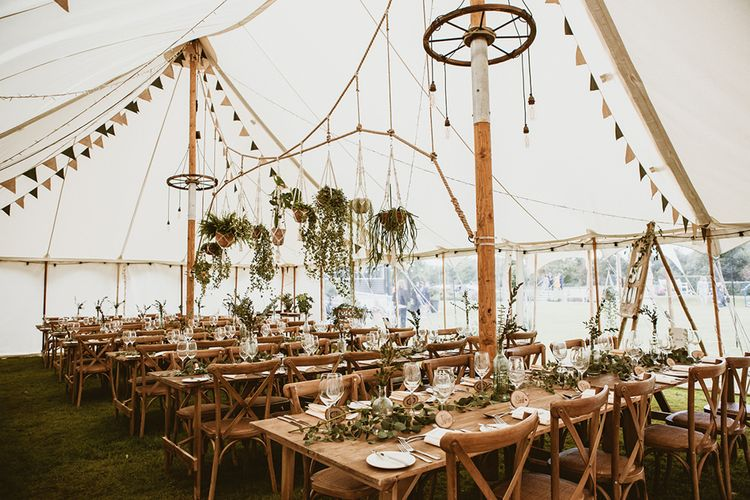 Natural and Rustic Tipi Décor with Hanging Pot Plants