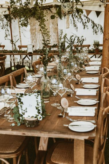 Wooden Banquet Tables with Foliage Centrepieces