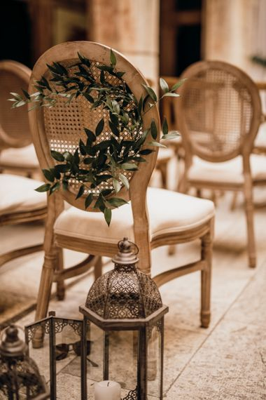 Wedding chair decor at Croatian wedding