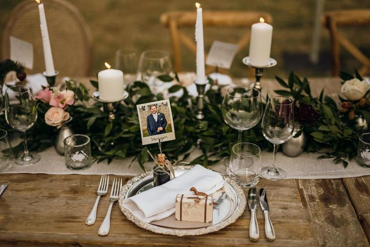 Wedding foliage table runner with candles