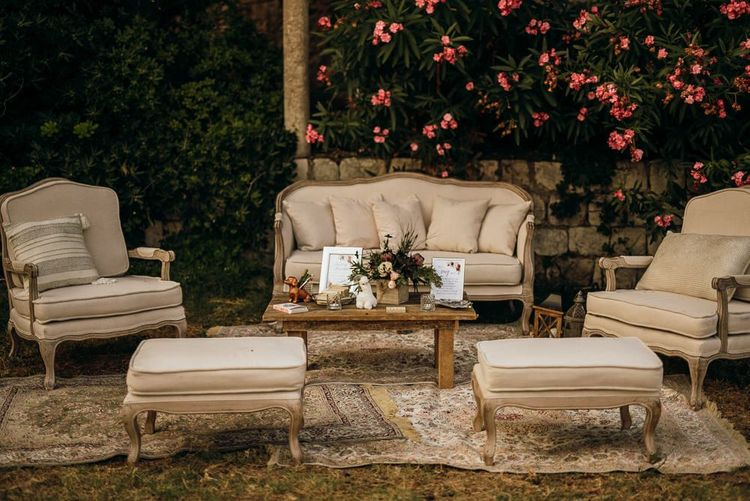Seating area at destination wedding