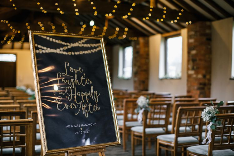 Festoon Light Illustrated Welcome To Our Wedding Sign // Elegant Christmas Wedding With Navy And Gold Colour Scheme At Dodmoor House With Bride In Maggie Sottero And Images From Chris Barber Photography
