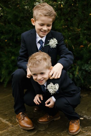 Page Boys In Little Navy Suits // Elegant Christmas Wedding With Navy And Gold Colour Scheme At Dodmoor House With Bride In Maggie Sottero And Images From Chris Barber Photography