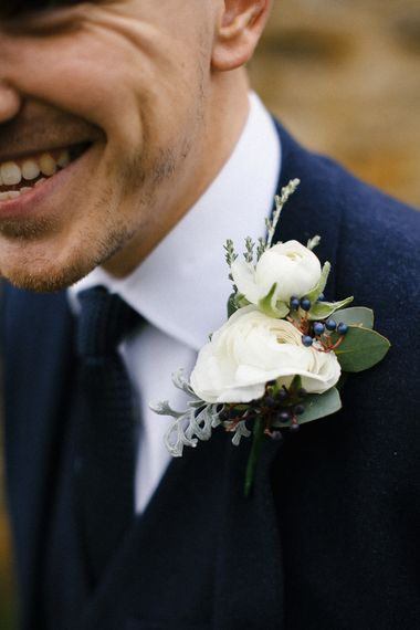 Winter Buttonhole For Wedding // Elegant Christmas Wedding With Navy And Gold Colour Scheme At Dodmoor House With Bride In Maggie Sottero And Images From Chris Barber Photography