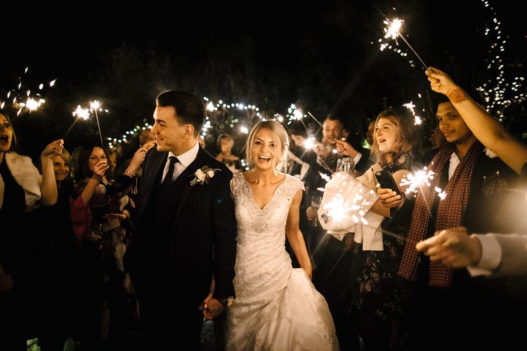 Wedding Sparklers // Elegant Christmas Wedding With Navy And Gold Colour Scheme At Dodmoor House With Bride In Maggie Sottero And Images From Chris Barber Photography