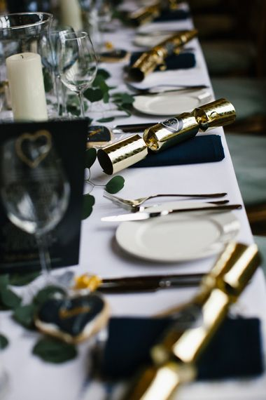 Christmas Cracker Wedding Favours // Elegant Christmas Wedding With Navy And Gold Colour Scheme At Dodmoor House With Bride In Maggie Sottero And Images From Chris Barber Photography