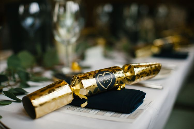 Christmas Cracker Favours For Guests // Elegant Christmas Wedding With Navy And Gold Colour Scheme At Dodmoor House With Bride In Maggie Sottero And Images From Chris Barber Photography