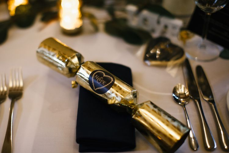 Christmas Cracker Wedding Favours For Guests // Elegant Christmas Wedding With Navy And Gold Colour Scheme At Dodmoor House With Bride In Maggie Sottero And Images From Chris Barber Photography