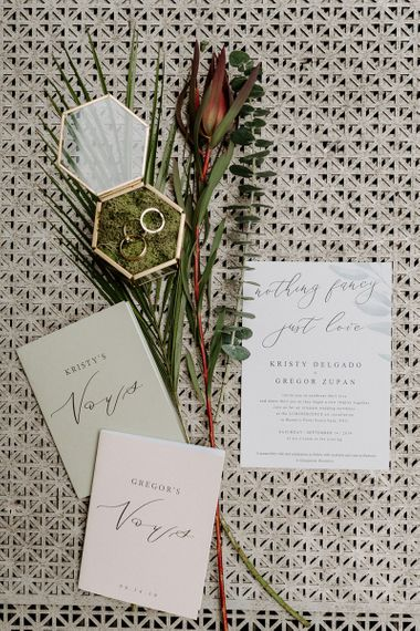 Wedding stationary at industrial boho styled Brooklyn elopement