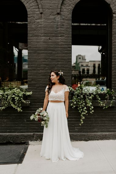 Bridal separates with lace top and king protea wedding bouquet for Brooklyn elopement
