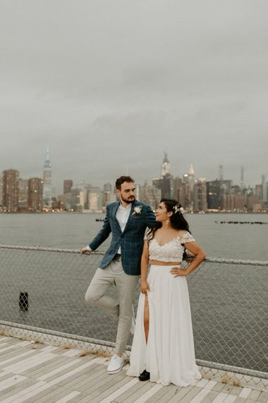 Bride wearing bridal separates and groom in a blue blazer for Brooklyn elopement