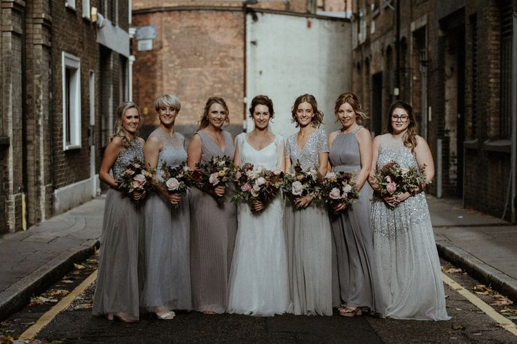Bridesmaids In Mismatched Neutral Dresses // Islington Town Hall Wedding With Reception At St Barts Brewery With Groom In Moss Bros. And Images From Olivia & Dan Photography