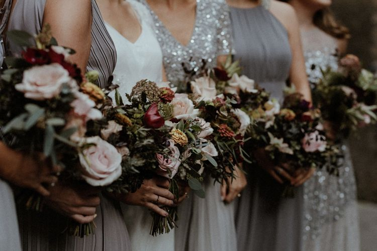 Autumnal Wedding Bouquets // Islington Town Hall Wedding With Reception At St Barts Brewery With Groom In Moss Bros. And Images From Olivia & Dan Photography