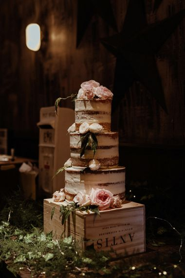 Semi Naked Wedding Cake // St Barts Brewery Wedding Reception // Islington Town Hall Wedding With Reception At St Barts Brewery With Groom In Moss Bros. And Images From Olivia & Dan Photography