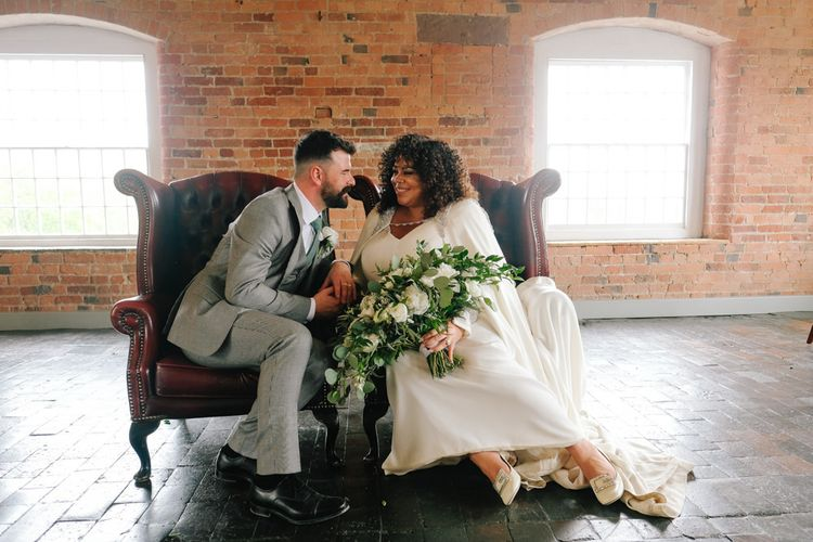 Bride and groom steal a moment