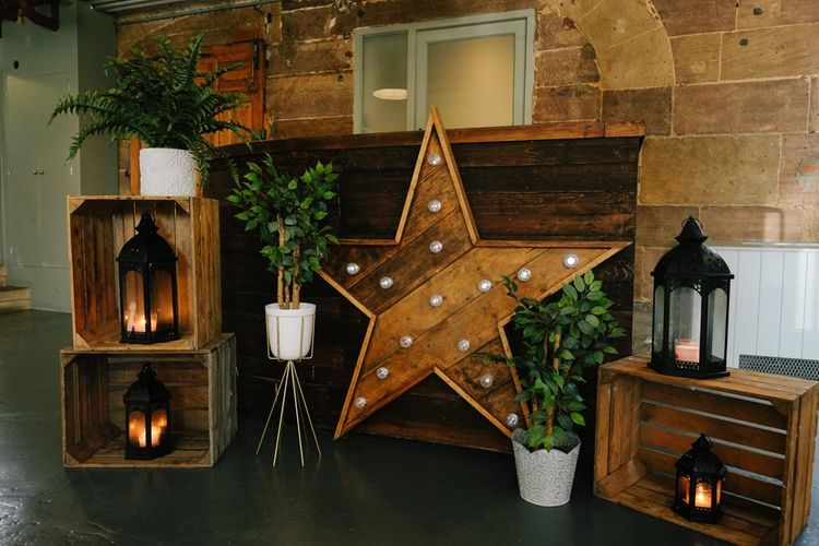 Star wedding decor with customised neon sign