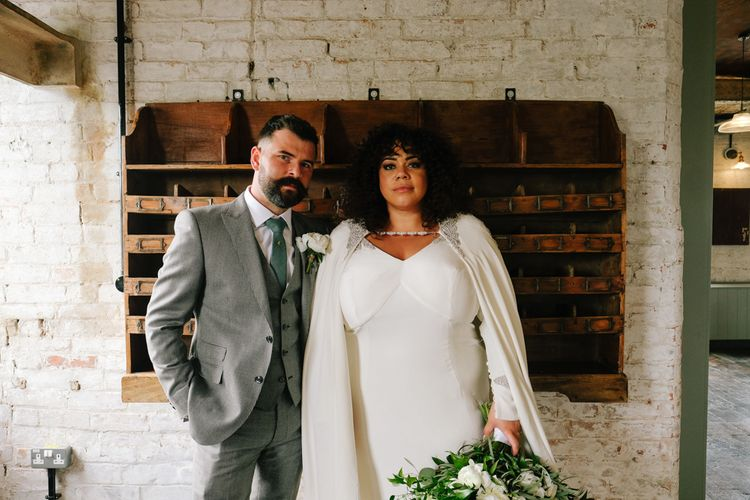 Stylish bride and groom portrait at The West Mill wedding venue in Derby