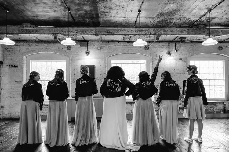 Bridal party in leather jacket cover-ups