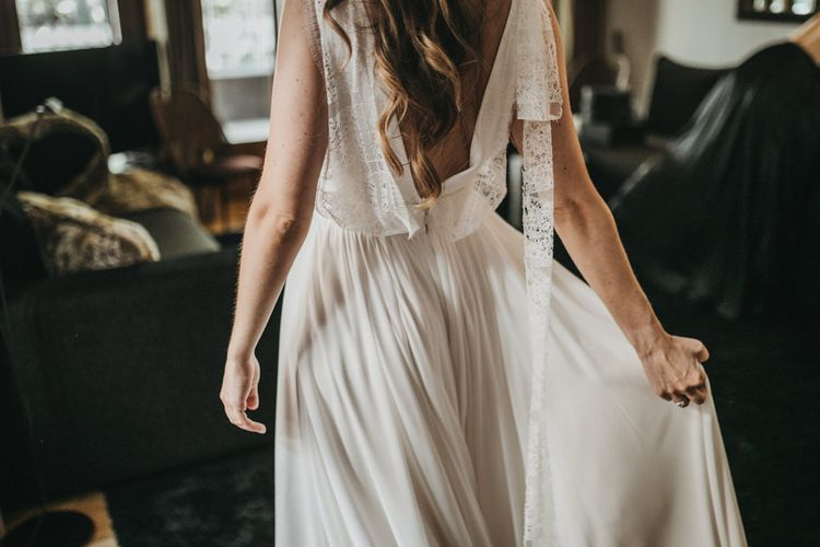 Bride in Teresa Helbig Wedding Dress with Lace Low Back Detail