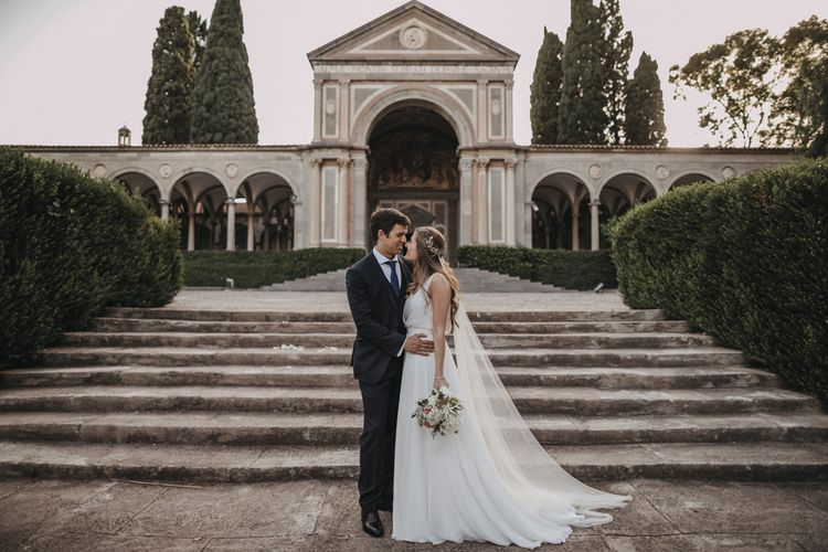 Bride and Groom Wedding Portrait in Front of  Masia Ribas Wedding Venue