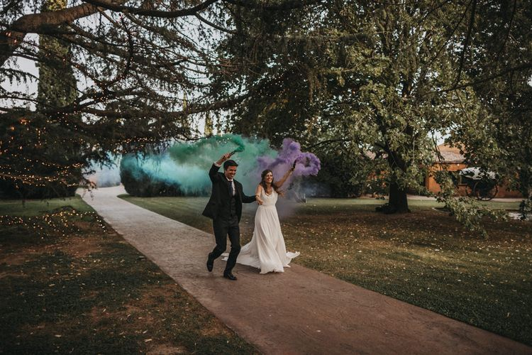 Bride and Groom Smoke Bomb Portrait