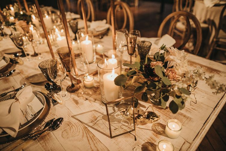 Candle Light Wedding Reception Table Decor