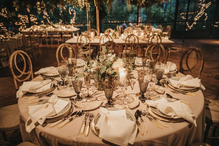 Wedding Table Decor with Floral Centrepiece, Candle Light and Goblets