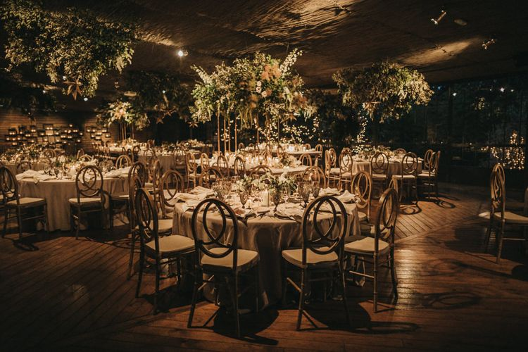 Wedding Breakfast Room with Greenery and Dried Flowers Floral Arrangements