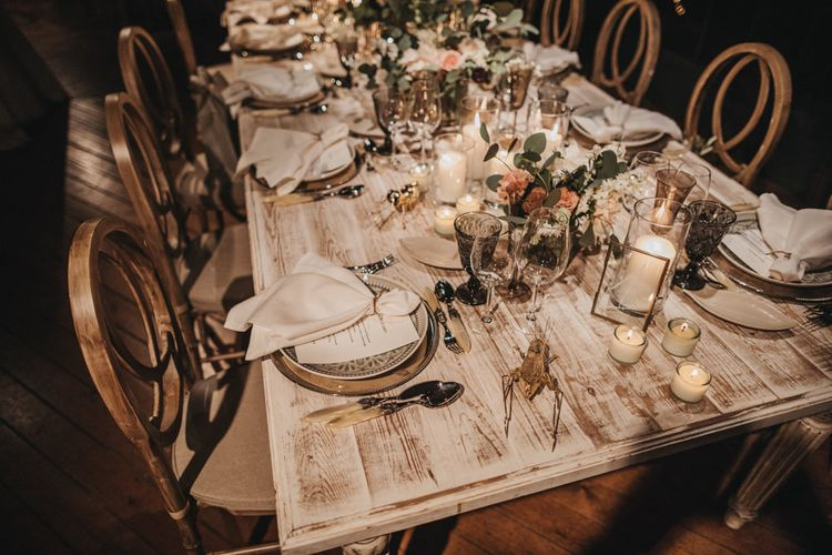 Elegant Place Settings with Napkins and Menu Cards