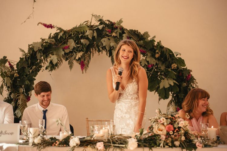 Bride Making Speech At Wedding // Laid Back Cornish Wedding Planned From Australia At Launcells Barton Bude Bride In Made With Love 'Stevie' Gown Images By McGivern Photography