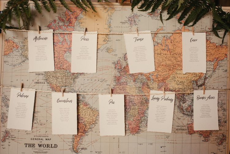 World Map Table Plan For Wedding // Laid Back Cornish Wedding Planned From Australia At Launcells Barton Bude Bride In Made With Love 'Stevie' Gown Images By McGivern Photography