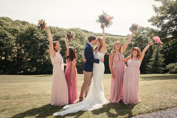 Bridesmaids In Pink Multiway Dresses // Image By McGivern Photography