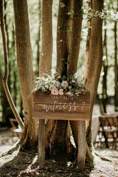 Wooden Can I Get a Witness Wedding Ceremony Sign with Flowers