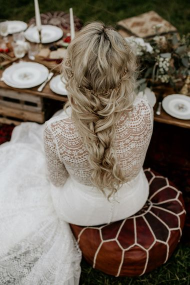 Bride in Lace Back Wedding Dress with Loose Bridal Braid