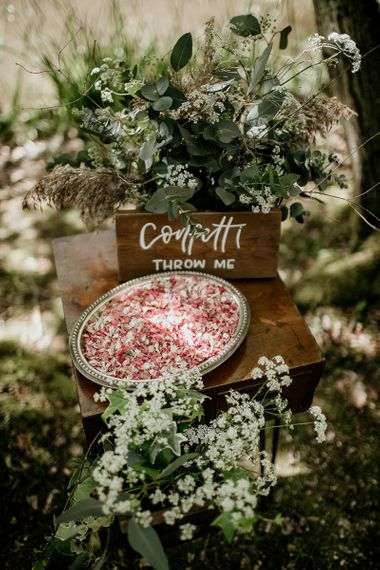 Tray of Eco Friendly Shropshire Petals on Confetti Table with Wooden Sign