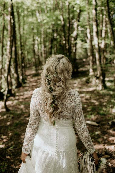 Boho Bride with Loose Wavy Bridal Braid Hairstyle