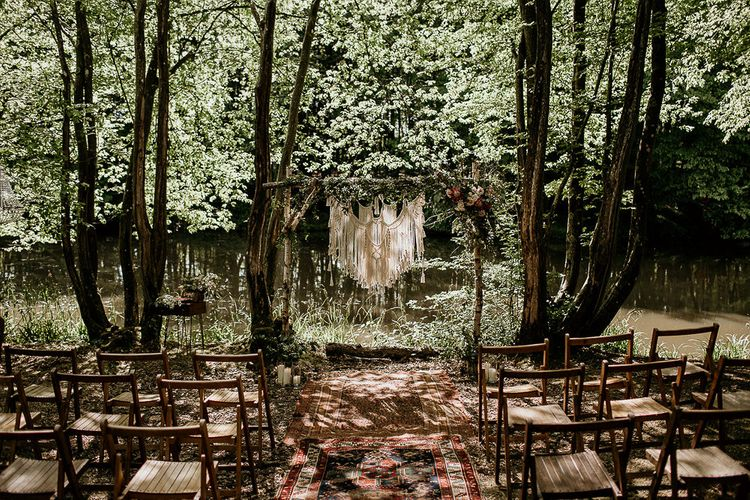 Outdoor Woodland Wedding at Wickerwood Farm in Sussex with Hanging Macrame Altar