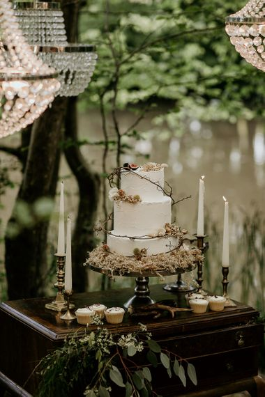Buttercream Three Tiered Wedding Cake Decorated with Twine and Woodland Flowers