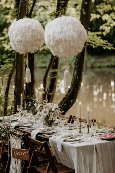 Woodland Tablescape with Hanging Pom Poms