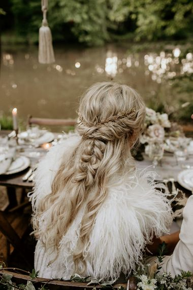 Half Up Half Down Bridal Braid and Feather Cover Up