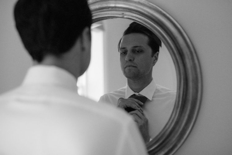 Wedding Morning Preparations | Groom in Marks & Spencer Suit with Olive Tie | Beaded Needle & Thread Dress for Intimate Islington Wedding | Olivia & Dan Photography