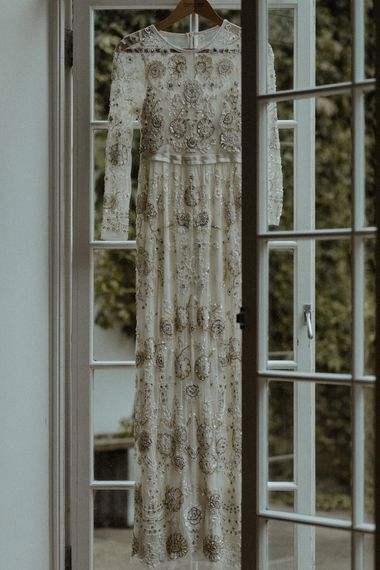 Beaded Needle & Thread Wedding Dress with Long Sleeves | Beaded Needle & Thread Dress for Intimate Islington Wedding | Olivia & Dan Photography