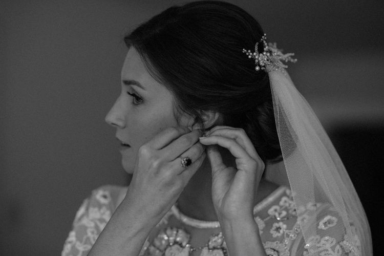 Wedding Morning Preparations | Beaded Needle & Thread Wedding Dress with Long Sleeves | Britten Veil | Tania Maris Hairpiece | Beaded Needle & Thread Dress for Intimate Islington Wedding | Olivia & Dan Photography