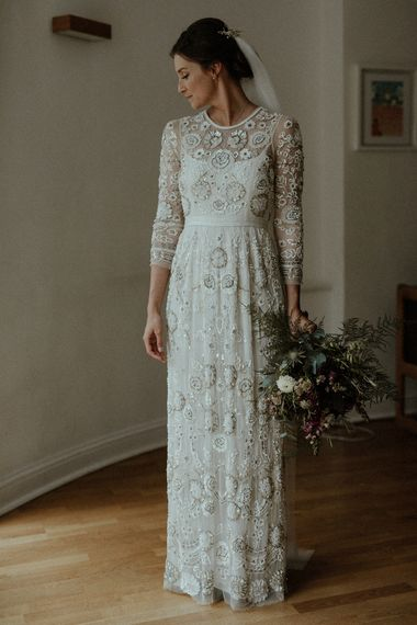 Beaded Needle & Thread Wedding Dress with Long Sleeves | Maroon and White Bridal Bouquet with Green Foliage | Beaded Needle & Thread Dress for Intimate Islington Wedding | Olivia & Dan Photography