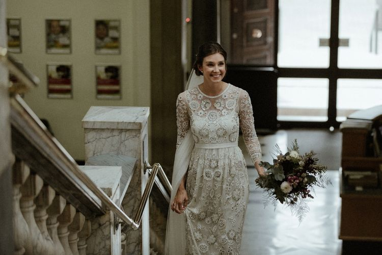 Arrival of the Bride | Beaded Needle & Thread Wedding Dress with Long Sleeves | Britten Veil | Maroon and White Bridal Bouquet with Green Foliage | Islington Town Hall | Beaded Needle & Thread Dress for Intimate Islington Wedding | Olivia & Dan Photography