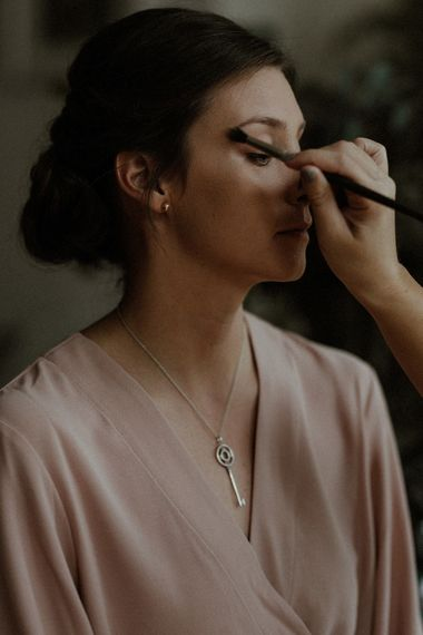 Wedding Morning Preparations | Bridal Make Up | Georgina Keeley Blush Pink Dressing Gown | Beaded Needle & Thread Dress for Intimate Islington Wedding | Olivia & Dan Photography