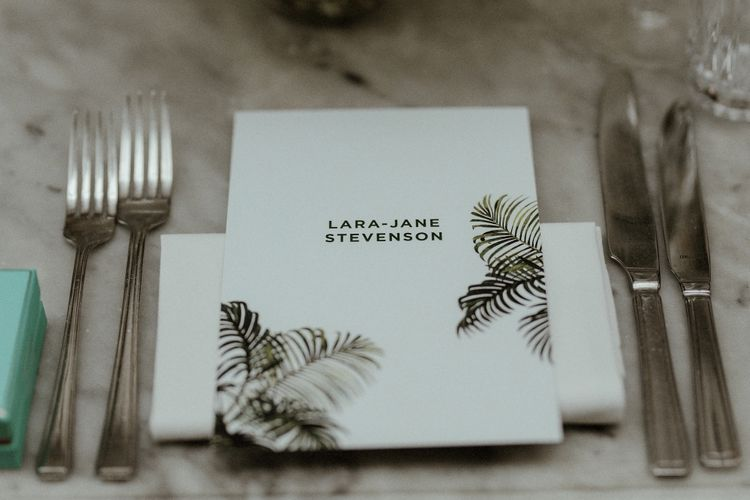 Wedding Reception Decor | Personalised Place Setting | Bourne & Hollingsworth Buildings | Beaded Needle & Thread Dress for Intimate Islington Wedding | Olivia & Dan Photography
