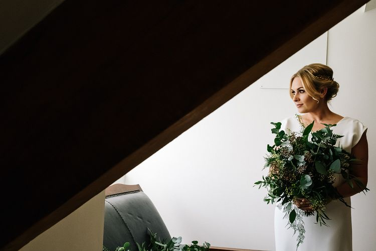 Brides Morning Preparations. Contemporary Meets Rustic Humanist Wedding at Boutique Venue Anran, Devon. Bespoke Bridal Gown. Photography by Kristian Leven